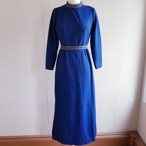 1970s Unlabeled Navy Gown